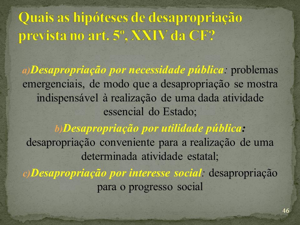 Quais as hipóteses de desapropriação prevista no art. 5º, XXIV da CF
