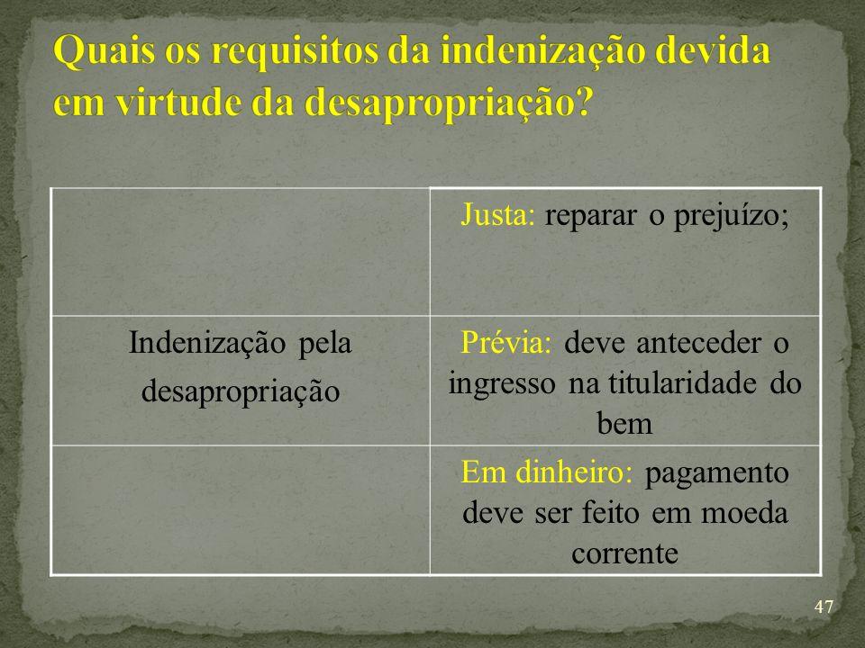 Quais os requisitos da indenização devida em virtude da desapropriação