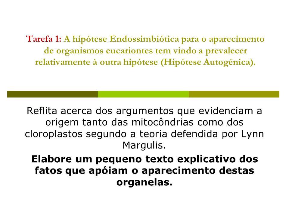Tarefa 1: A hipótese Endossimbiótica para o aparecimento de organismos eucariontes tem vindo a prevalecer relativamente à outra hipótese (Hipótese Autogénica).