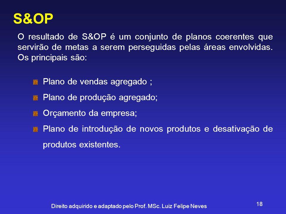 S&OP O resultado de S&OP é um conjunto de planos coerentes que servirão de metas a serem perseguidas pelas áreas envolvidas. Os principais são:
