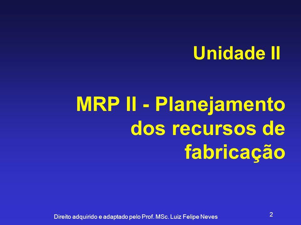 MRP II - Planejamento dos recursos de fabricação