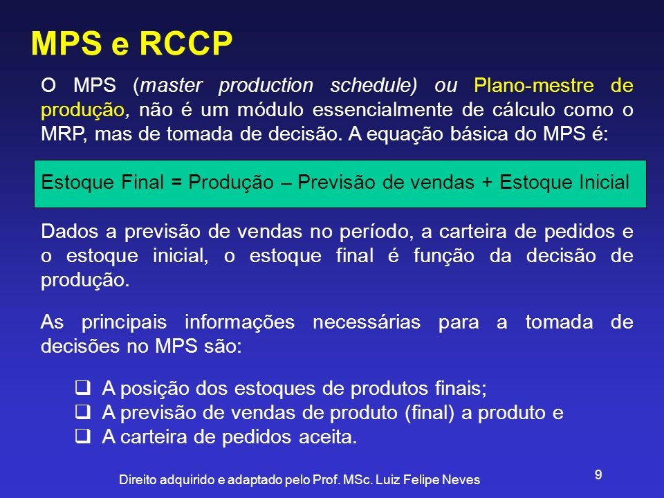 MPS e RCCP