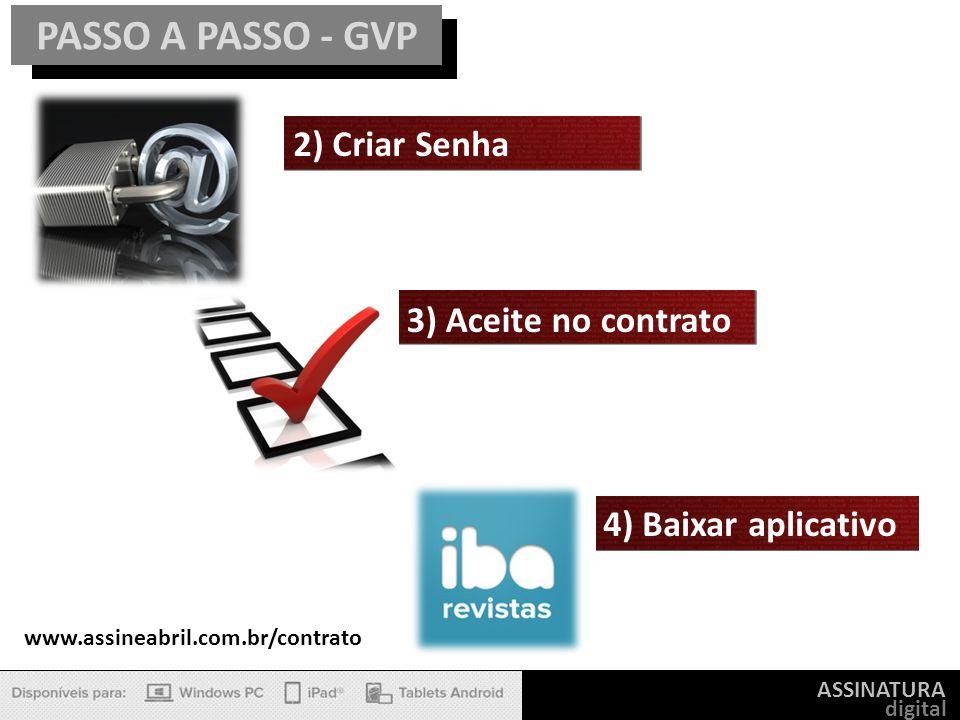 PASSO A PASSO - GVP 2) Criar Senha 3) Aceite no contrato