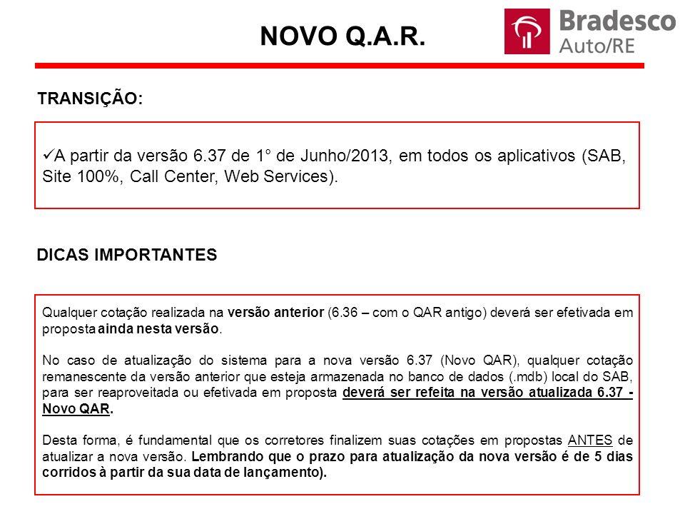 NOVO Q.A.R. TRANSIÇÃO: A partir da versão 6.37 de 1° de Junho/2013, em todos os aplicativos (SAB, Site 100%, Call Center, Web Services).