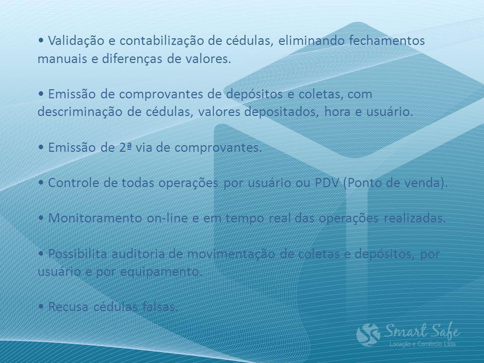 • Validação e contabilização de cédulas, eliminando fechamentos manuais e diferenças de valores.