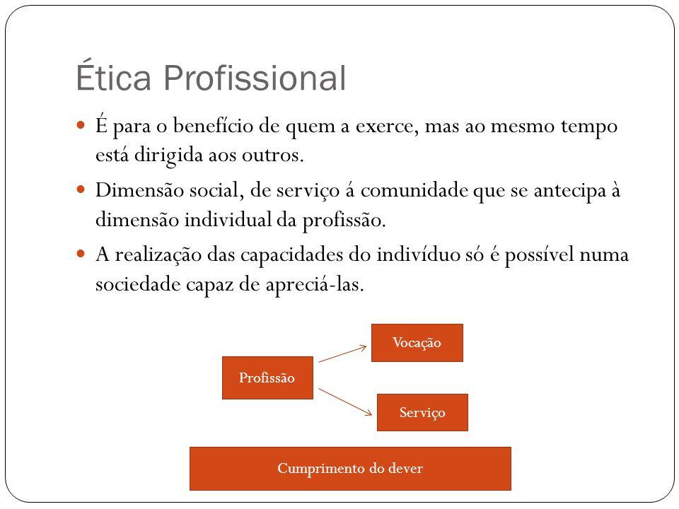 Ética Profissional É para o benefício de quem a exerce, mas ao mesmo tempo está dirigida aos outros.