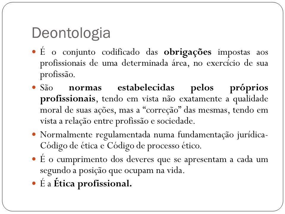 Deontologia É o conjunto codificado das obrigações impostas aos profissionais de uma determinada área, no exercício de sua profissão.