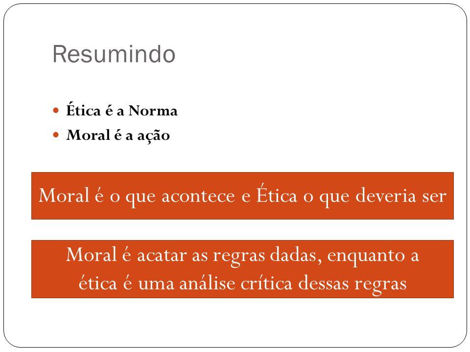 Resumindo Moral é o que acontece e Ética o que deveria ser
