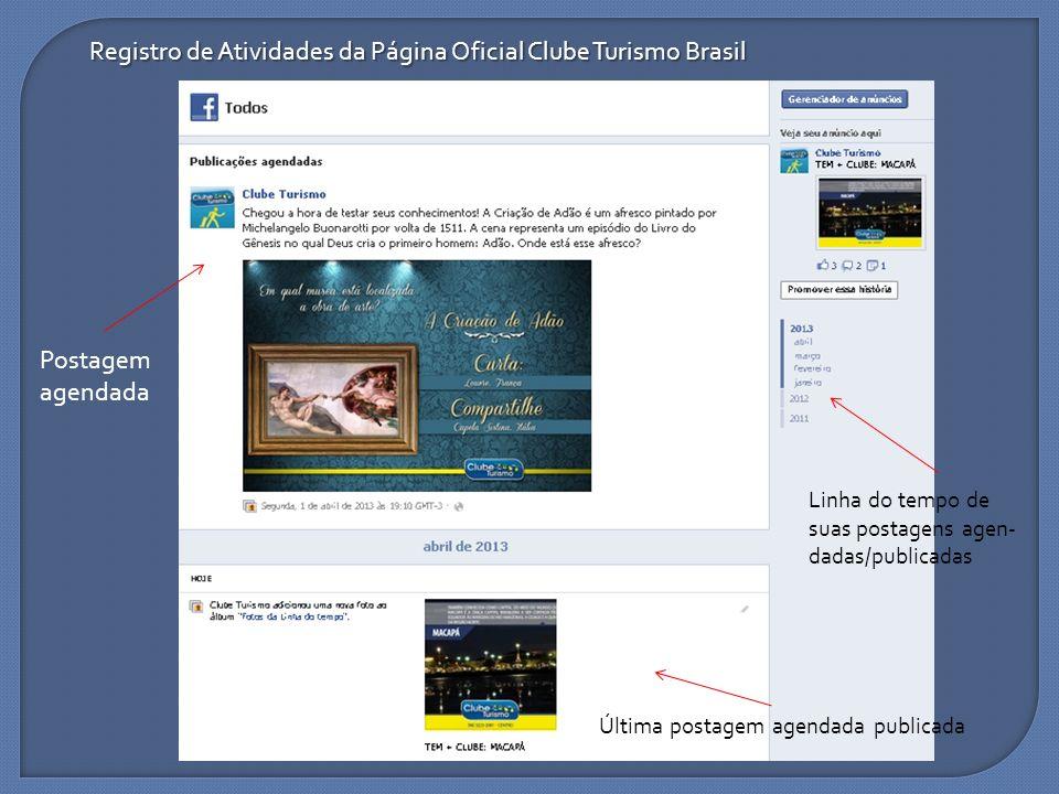 Registro de Atividades da Página Oficial Clube Turismo Brasil
