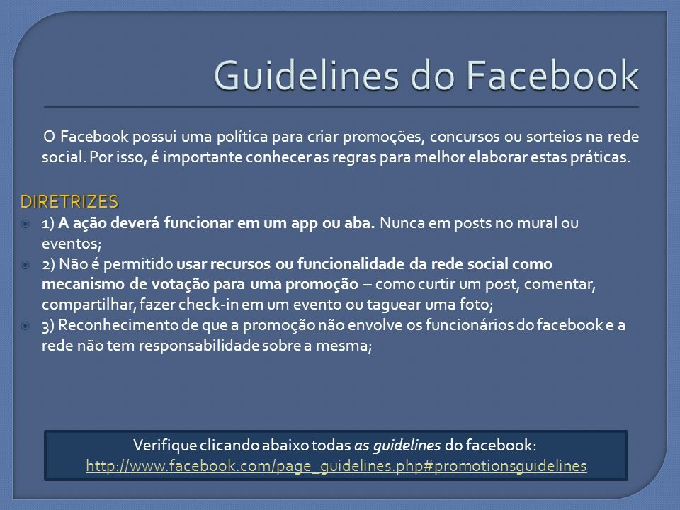 Guidelines do Facebook