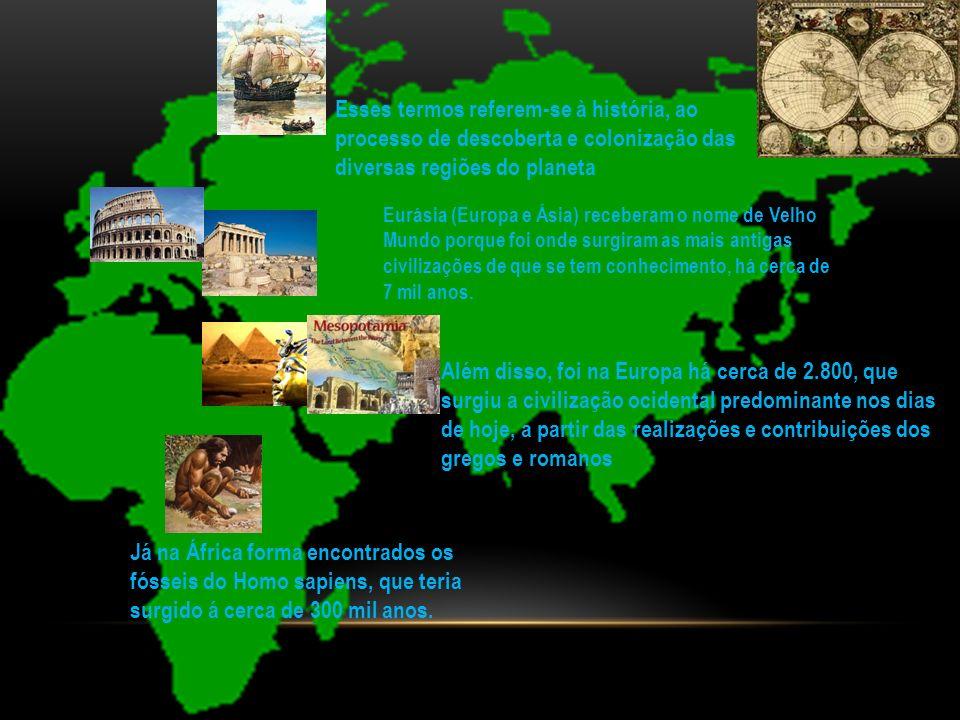 Esses termos referem-se à história, ao processo de descoberta e colonização das diversas regiões do planeta