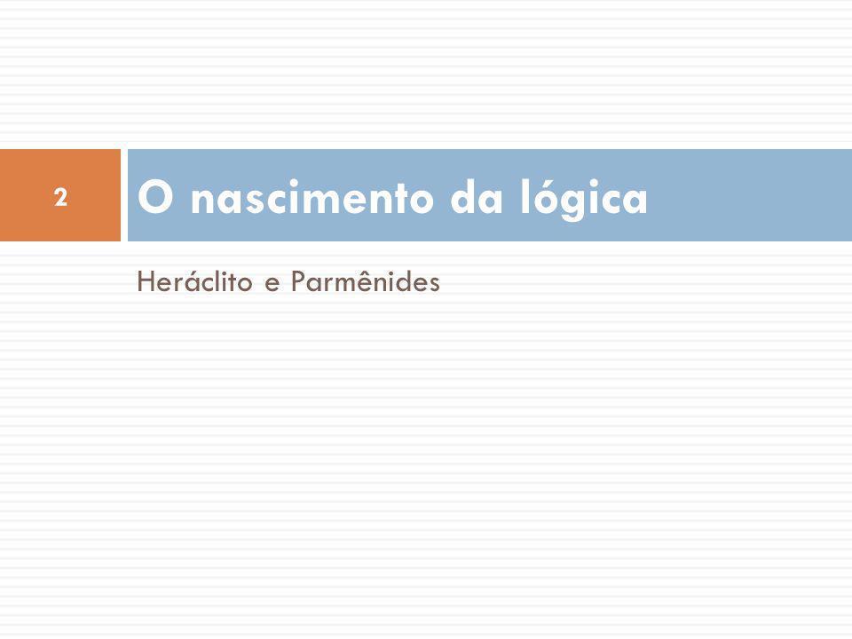 O nascimento da lógica Heráclito e Parmênides