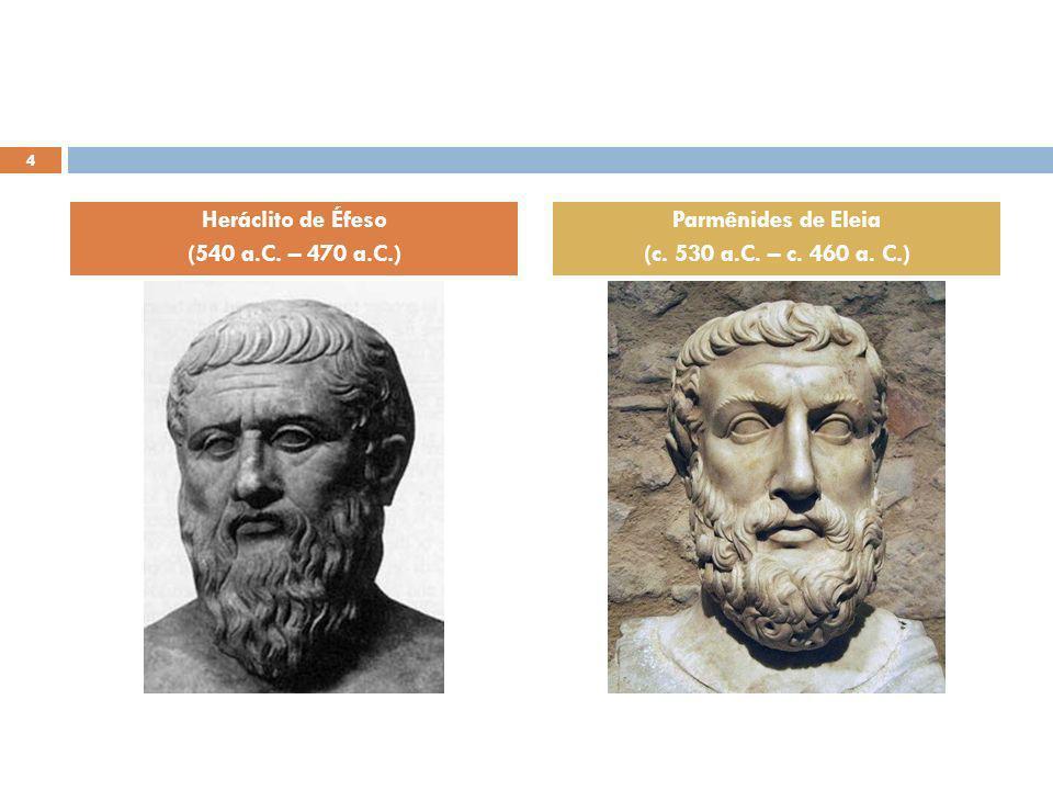Heráclito de Éfeso (540 a.C. – 470 a.C.) Parmênides de Eleia (c. 530 a.C. – c. 460 a. C.)