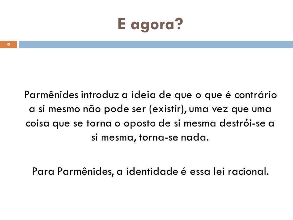 Para Parmênides, a identidade é essa lei racional.