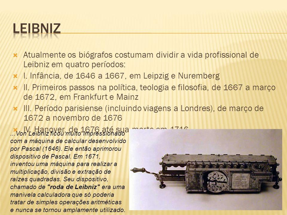 Leibniz Atualmente os biógrafos costumam dividir a vida profissional de Leibniz em quatro períodos:
