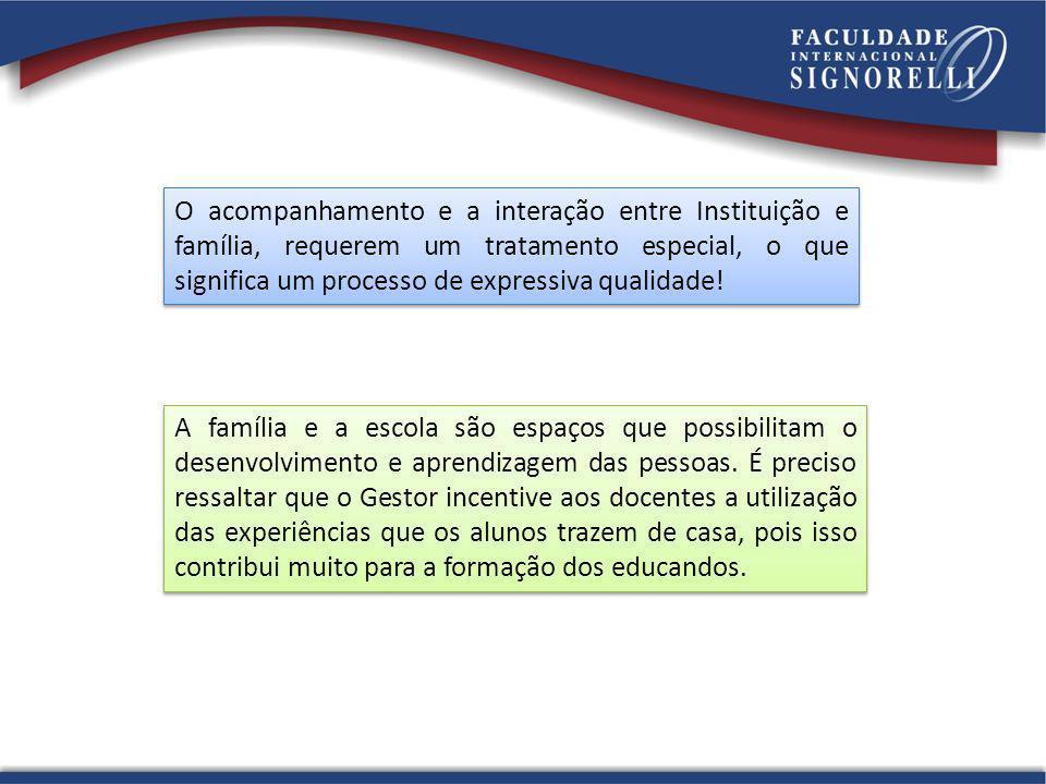 O acompanhamento e a interação entre Instituição e família, requerem um tratamento especial, o que significa um processo de expressiva qualidade!