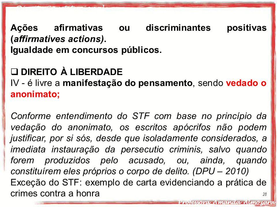 Ações afirmativas ou discriminantes positivas (affirmatives actions).