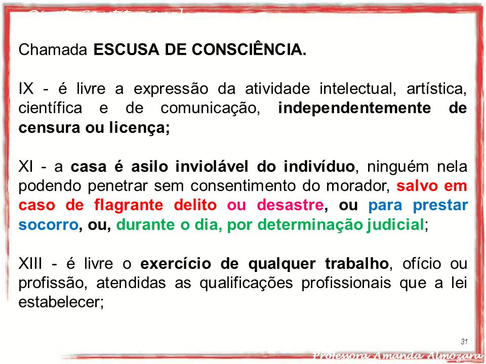 Chamada ESCUSA DE CONSCIÊNCIA.