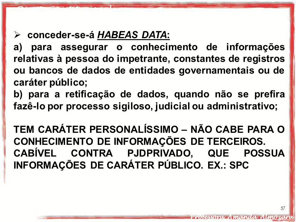 conceder-se-á HABEAS DATA: