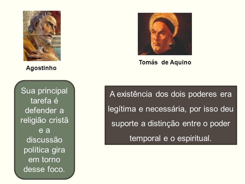 Tomás de Aquino Agostinho. Sua principal tarefa é defender a religião cristã e a discussão política gira em torno desse foco.