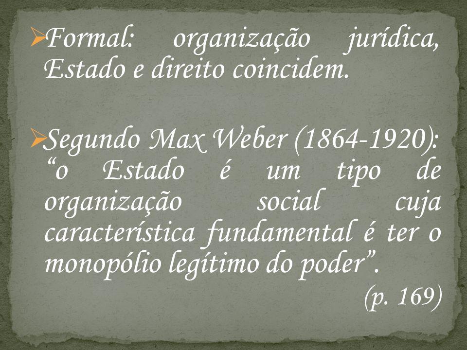 Formal: organização jurídica, Estado e direito coincidem.
