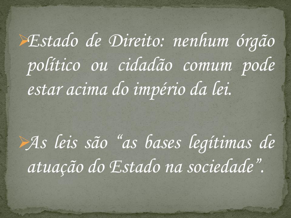 Estado de Direito: nenhum órgão político ou cidadão comum pode estar acima do império da lei.