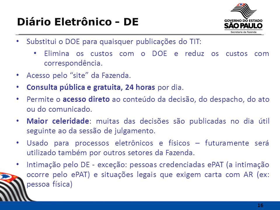 Diário Eletrônico - DE Substitui o DOE para quaisquer publicações do TIT: Elimina os custos com o DOE e reduz os custos com correspondência.
