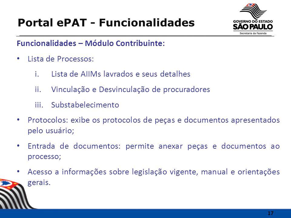 Portal ePAT - Funcionalidades