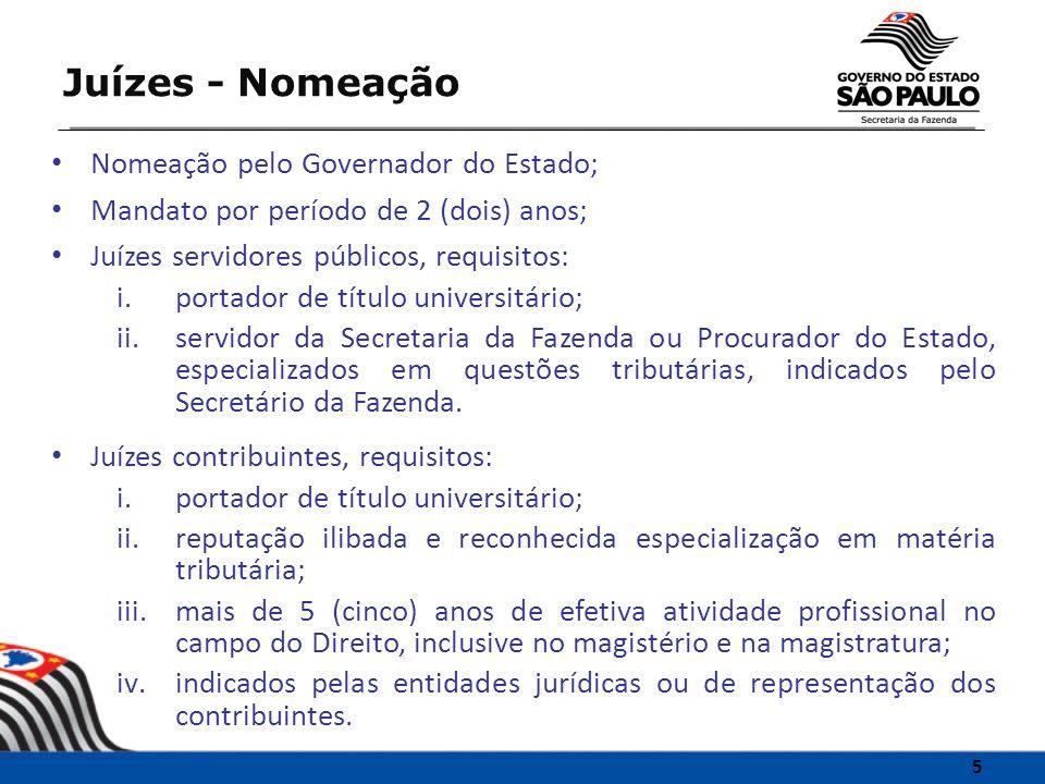Juízes - Nomeação Nomeação pelo Governador do Estado;