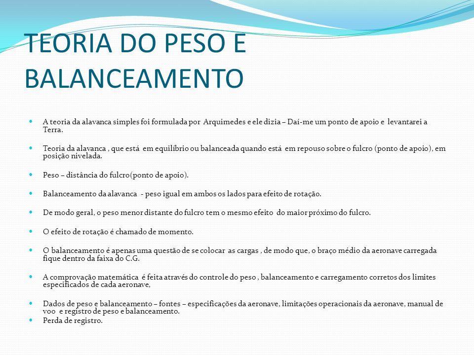 TEORIA DO PESO E BALANCEAMENTO
