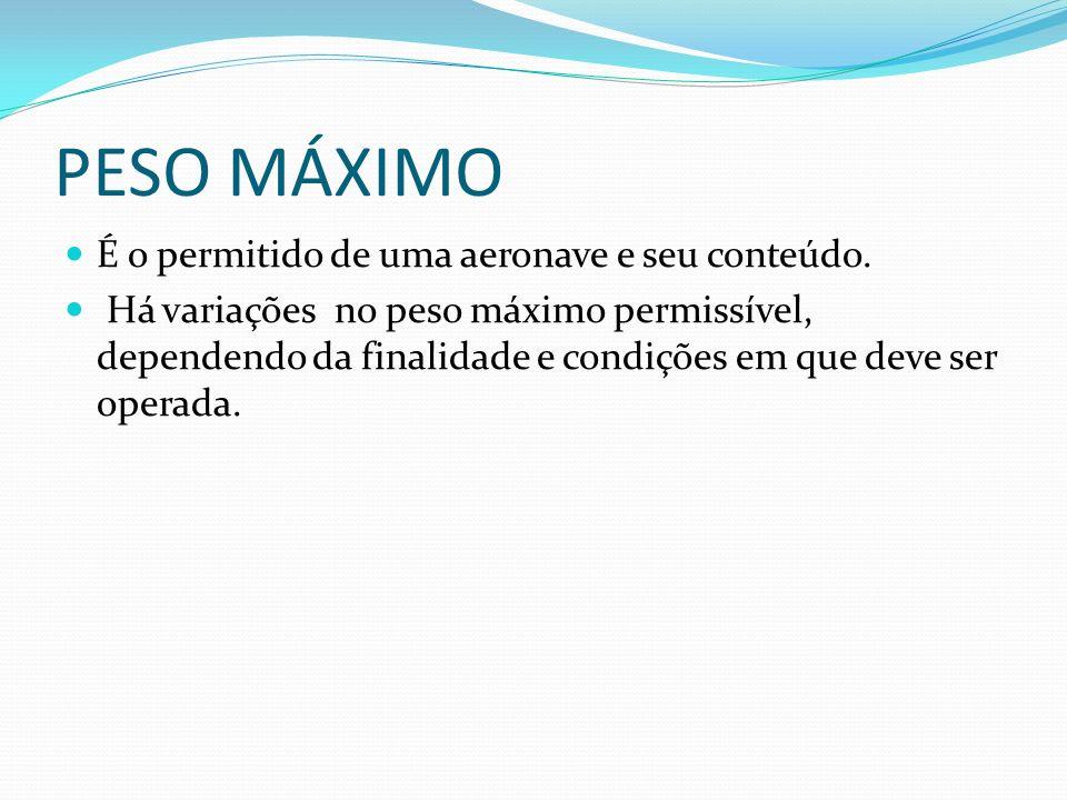 PESO MÁXIMO É o permitido de uma aeronave e seu conteúdo.