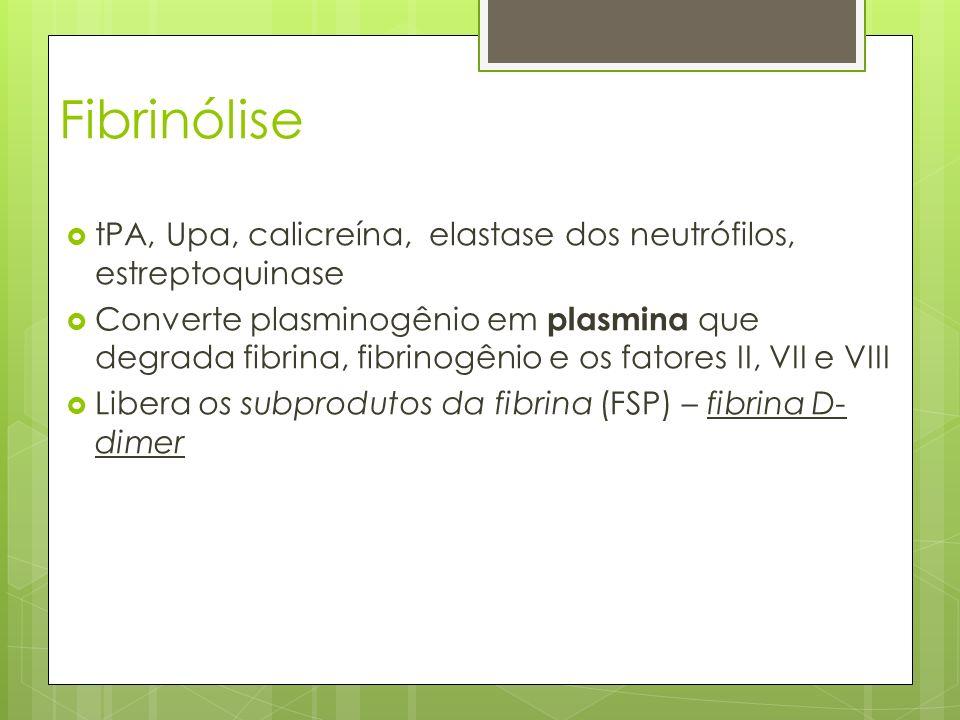 Fibrinólise tPA, Upa, calicreína, elastase dos neutrófilos, estreptoquinase.