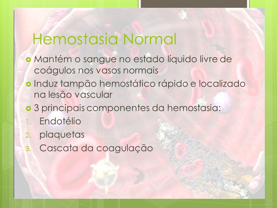 Hemostasia Normal Mantém o sangue no estado líquido livre de coágulos nos vasos normais.