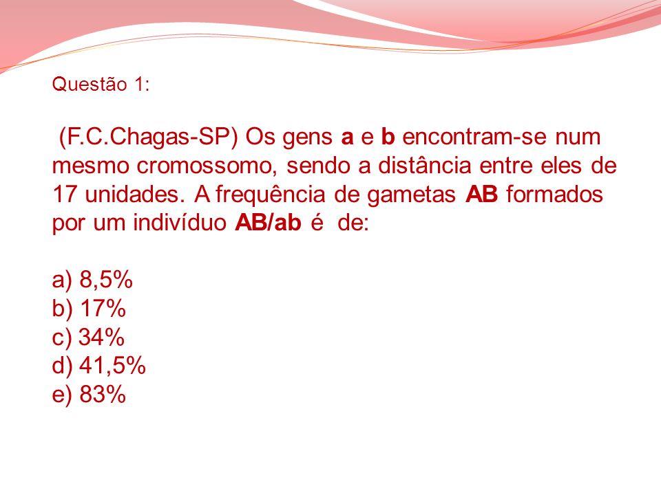 Questão 1: (F.C.Chagas-SP) Os gens a e b encontram-se num mesmo cromossomo, sendo a distância entre eles de 17 unidades.