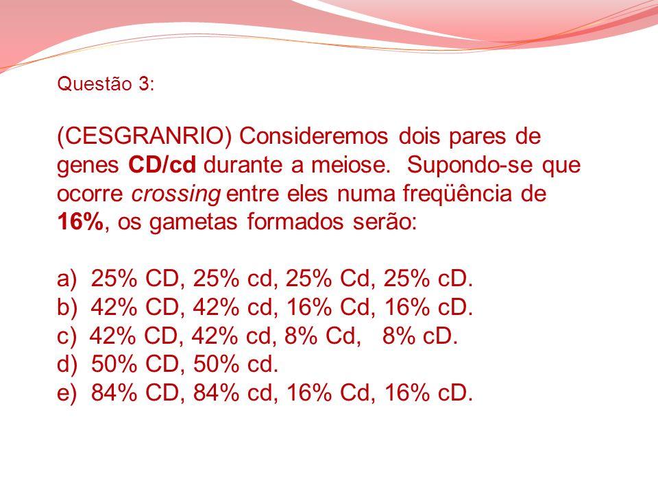 Questão 3: (CESGRANRIO) Consideremos dois pares de genes CD/cd durante a meiose.