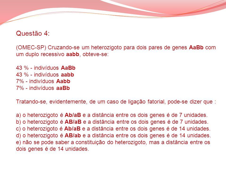 Questão 4: (OMEC-SP) Cruzando-se um heterozigoto para dois pares de genes AaBb com um duplo recessivo aabb, obteve-se: 43 % - indivíduos AaBb 43 % - indivíduos aabb 7% - indivíduos Aabb 7% - indivíduos aaBb Tratando-se, evidentemente, de um caso de ligação fatorial, pode-se dizer que : a) o heterozigoto é Ab/aB e a distância entre os dois genes é de 7 unidades.