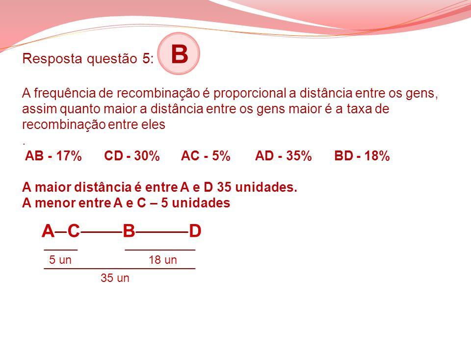 Resposta questão 5: B A frequência de recombinação é proporcional a distância entre os gens, assim quanto maior a distância entre os gens maior é a taxa de recombinação entre eles . AB - 17% CD - 30% AC - 5% AD - 35% BD - 18% A maior distância é entre A e D 35 unidades. A menor entre A e C – 5 unidades