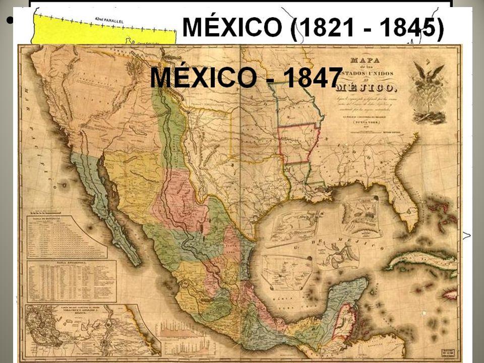1845 anexação do Texas sob guerra: expansionismo territorial e econômico estadunidense pós-independência em 1777 (aquisição de terras, recursos naturais, formação de mercados consumidores) e justificativa ideológica através do Destino Manifesto.