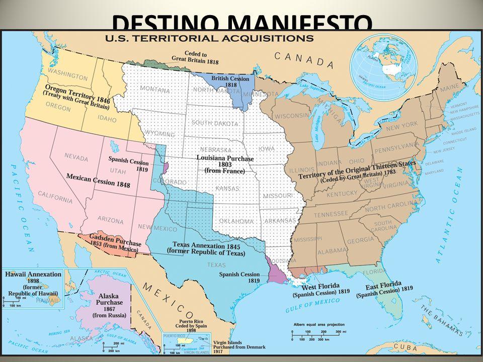 DESTINO MANIFESTO Doutrina cristã puritana em os colonos dos EUA seriam o povo eleito por Deus para desenvolver a nação a ser o modelo no mundo!