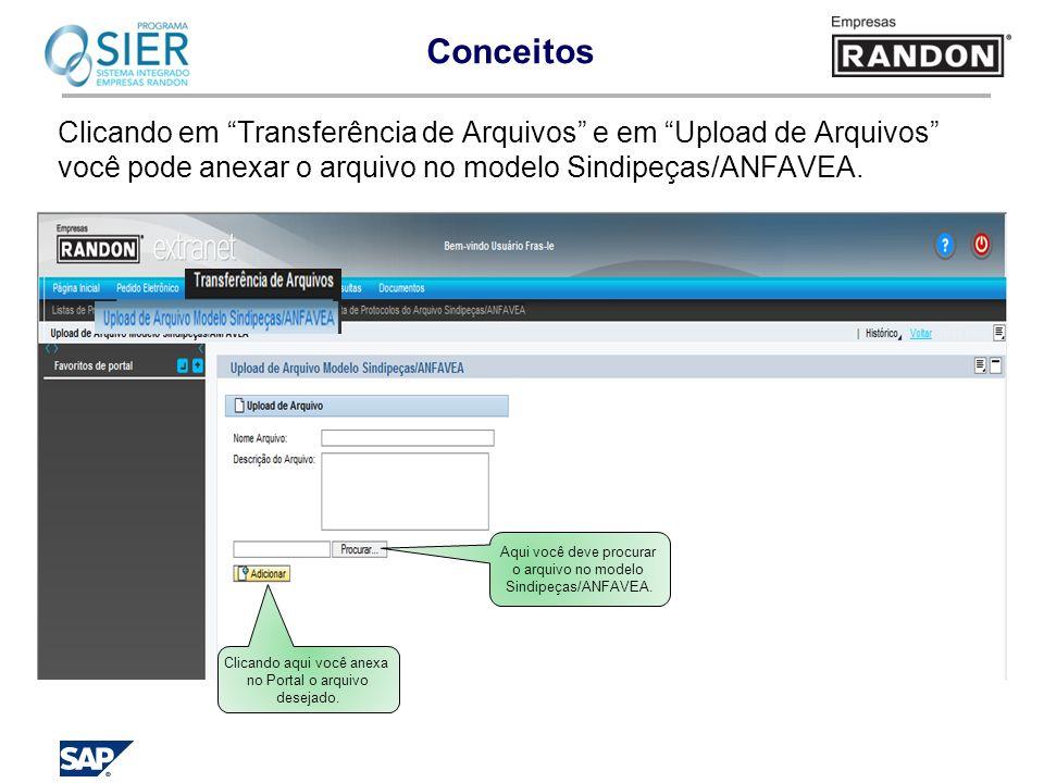 Conceitos Clicando em Transferência de Arquivos e em Upload de Arquivos você pode anexar o arquivo no modelo Sindipeças/ANFAVEA.