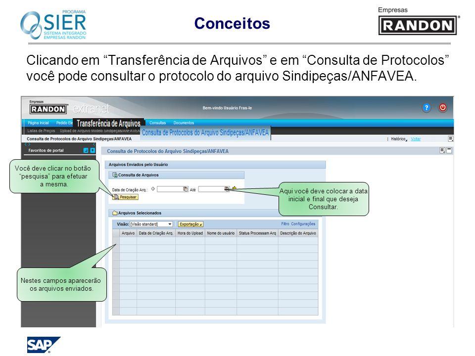 Conceitos Clicando em Transferência de Arquivos e em Consulta de Protocolos você pode consultar o protocolo do arquivo Sindipeças/ANFAVEA.