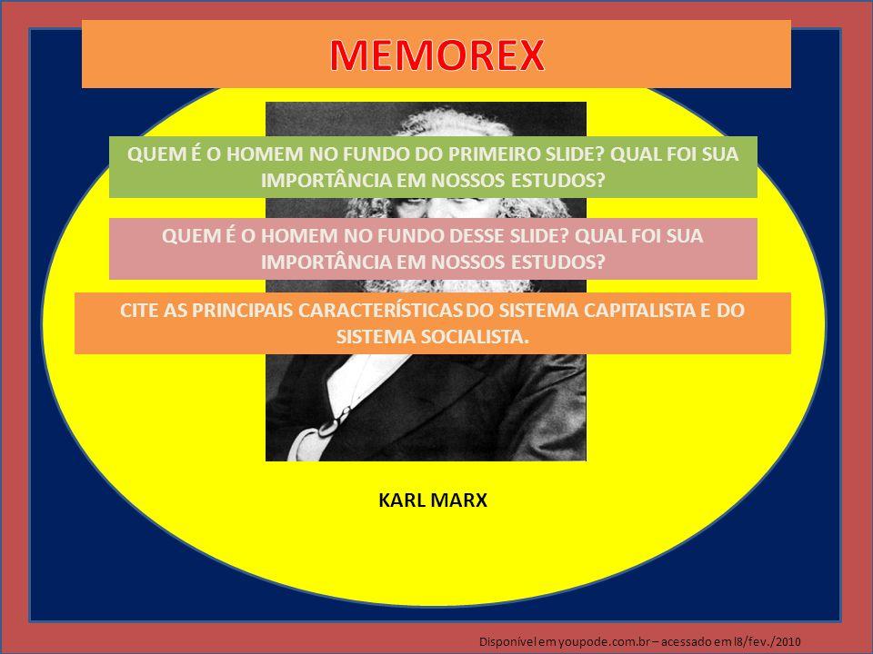 KARL MARX MEMOREX. QUEM É O HOMEM NO FUNDO DO PRIMEIRO SLIDE QUAL FOI SUA IMPORTÂNCIA EM NOSSOS ESTUDOS