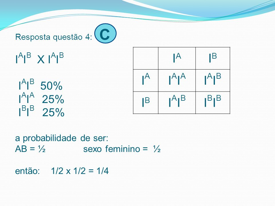 Resposta questão 4: C IAIB X IAIB IAIB 50% IAIA 25% IBIB 25% a probabilidade de ser: AB = ½ sexo feminino = ½ então: 1/2 x 1/2 = 1/4
