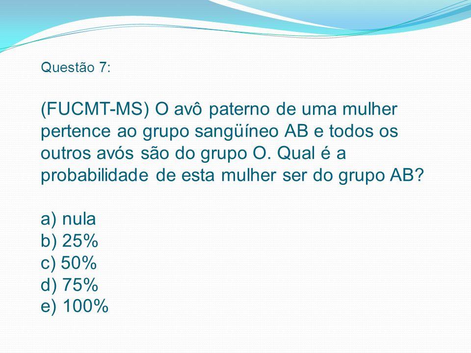 Questão 7: (FUCMT-MS) O avô paterno de uma mulher pertence ao grupo sangüíneo AB e todos os outros avós são do grupo O.