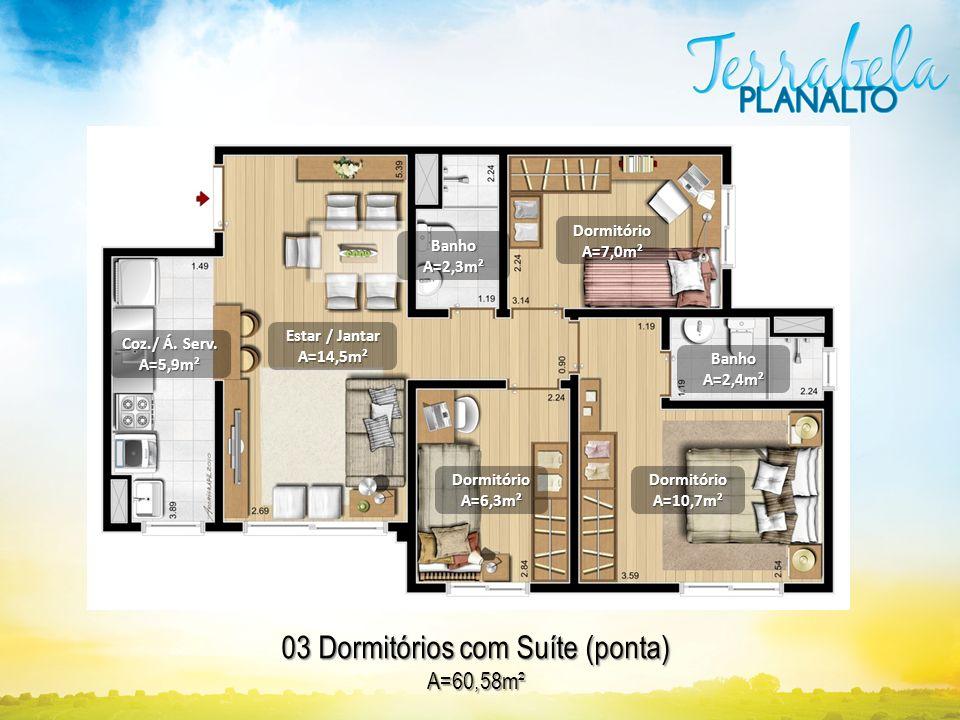 03 Dormitórios com Suíte (ponta)