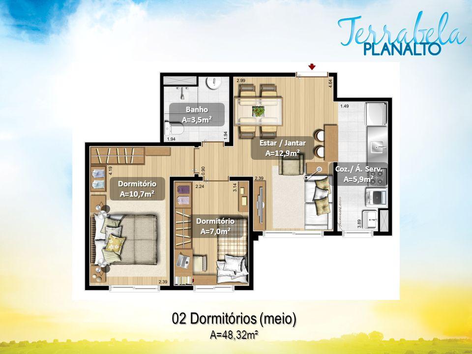 02 Dormitórios (meio) A=48,32m² Banho A=3,5m² Estar / Jantar A=12,9m²