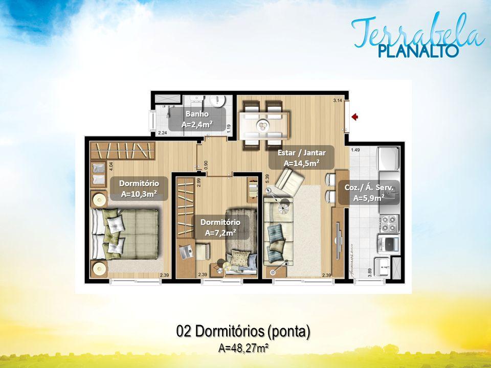 02 Dormitórios (ponta) A=48,27m² Banho A=2,4m² Estar / Jantar A=14,5m²