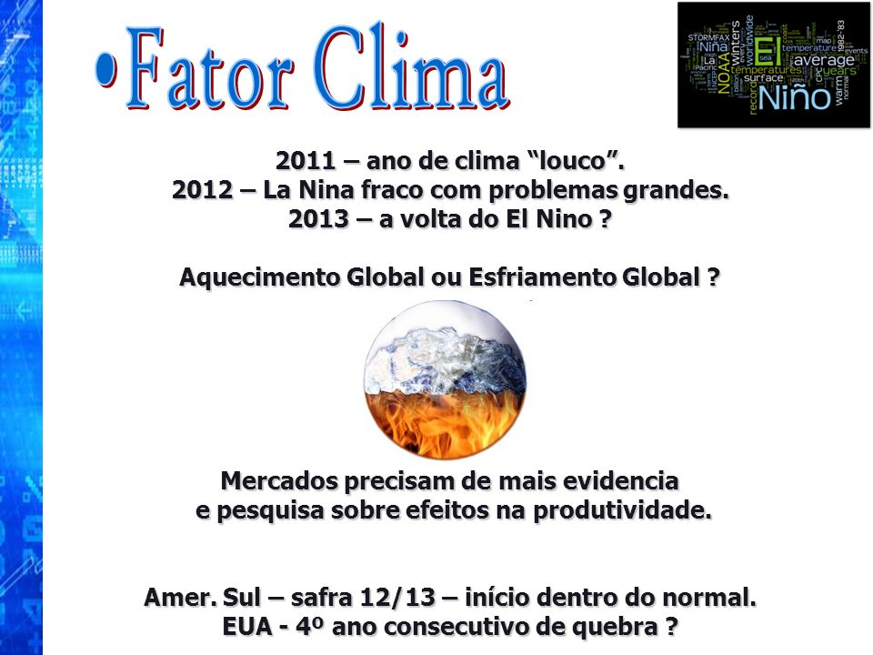 Fator Clima 2011 – ano de clima louco .