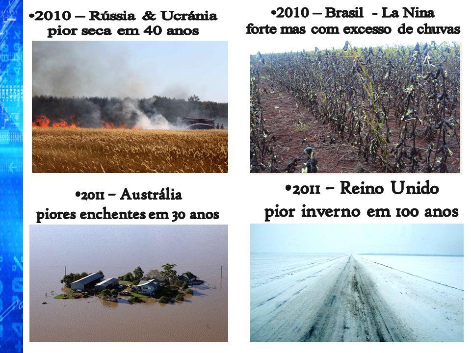 2011 – Reino Unido pior inverno em 100 anos 2010 – Brasil - La Nina