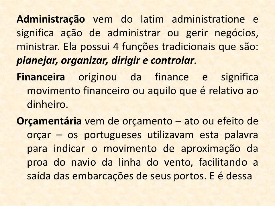 Administração vem do latim administratione e significa ação de administrar ou gerir negócios, ministrar. Ela possui 4 funções tradicionais que são: planejar, organizar, dirigir e controlar.